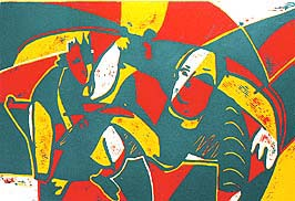 linocut printing proces colour