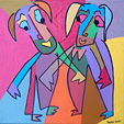 Painting acryl on canvas Let's work by Twan de Vos, two man are ready to start working