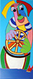 Painting acryl on canvas Rudder man by Twan de Vos, man is sailing the seven seas in a beautiful boat