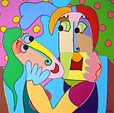 painting acryl on canvas Apple kiss by Twan de Vos, Adam and Eve kiss in paradise under the apple tree