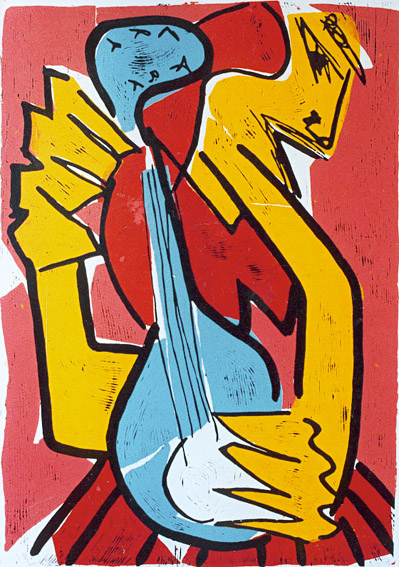 linocut athena greek music Linocut Athens touch of strings 2 by Twan de Vos, the god Athens is playing the guitar, a heavenly song
