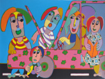 Screenprint Car breakdown the family adapts is not bored as it was in the sixties, flower power