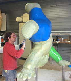 Painting polyester sculpture