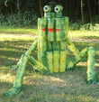 Sculpture made ??from biobased flower pots made ??of potato of a frog for the exhibition Landart Diessen by Twan de Vos