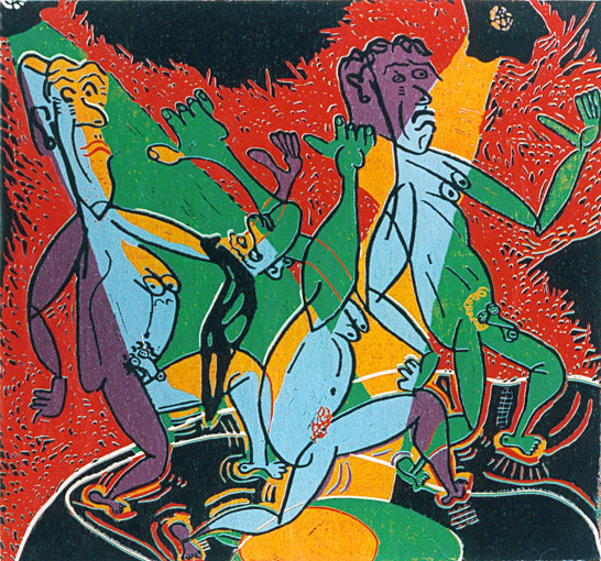 Linocut Beastly swinging of Twan de Vos, go wild on great music