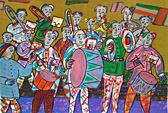 Silkscreen Big band by Twan de Vos, with lots of fun making music together, a big band in the streets, marching band, harmony