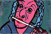 Linocut Playing Recorder by Twan de Vos, printed by the Picasso method