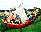 sculpture polyester family boat parents children