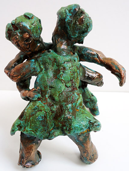 "Sculpture in bronze ""My first tango"" by Twan de Vos, the first steps on the dance floor"