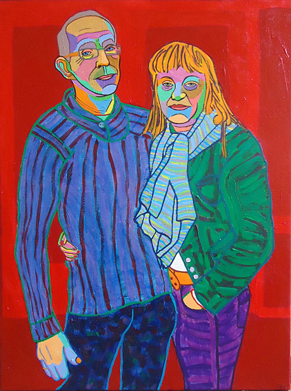 Double portrait, acrylic on linen made by Twan de Vos of Mart and Erica on behalf of the gallery Sous terre