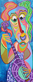 Painting Fun playing of Twan de Vos, woman plays with a lot of fun on a string instrument, guitar, bass