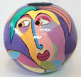Glass vase, painted, diameter 38 cm