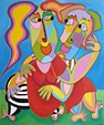 Twan de vos painting acryl on canvas Intimate moment, two people are totally in love, they embrace each other with every body part they have art