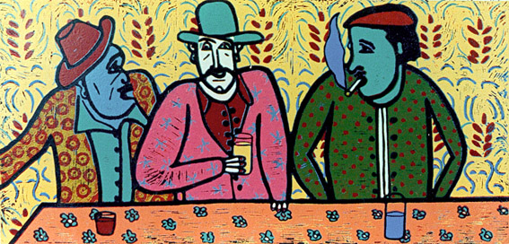 Linocut Musketeer 4, 5 and 6 Made by the Method Picasso by Twan de Vos. 3 gentleman in the Pub in France