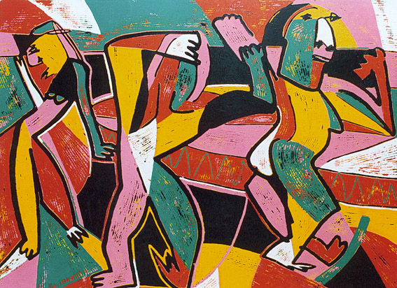 Linocut Morning gymnastics II by Twan de Vos, after waking up, three people excercise to start the day, sport