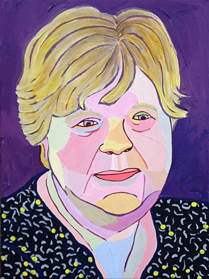 Portrait of woman of 65, acrylic on canvas painting gift from her husband