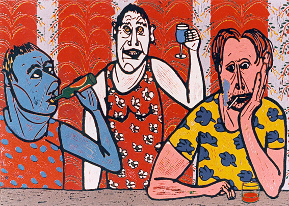 Linocut Cheers of Twan de Vos, customers from the viewpoint of the bartender