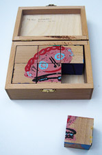 Twan de Vos puzzle box with screen printing blocks with 6 images also 3 of Margreet van Terwisga