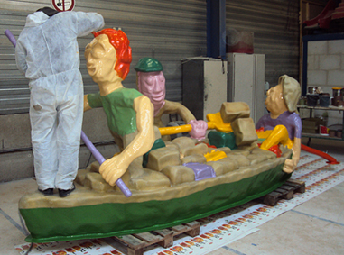 painting the polyester sculpture of the peat ship which will be placed in Stadskanaal