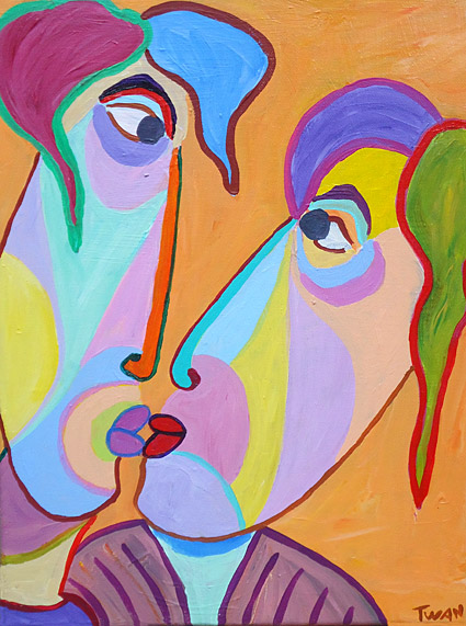 Painting Hesitating kiss by Twan de Vos, will I kiss him?