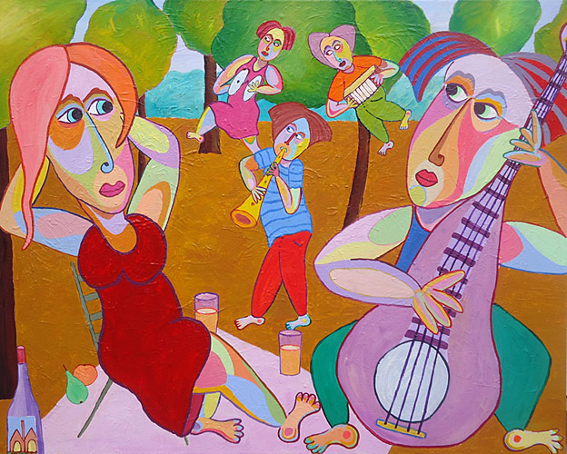 "Painting ""Musical lunch"" by Twan de Vos, musical serenade to his beloved"