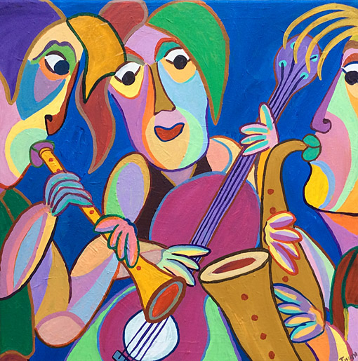 Painting Trio gitano by Twan de Vos, trio plays beautiful music together