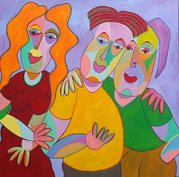 Painting Thick friends by Twan de Vos, woman and two men for years pals