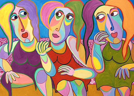 Painting Amigas by Twan de Vos, woman tells story to her friends