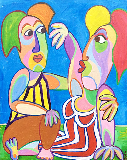 Painting Listening ear by Twan de Vos, listen carefully to your partner