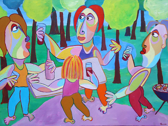 Painting Male bonding by Twan de Vos, in the woods with a drink