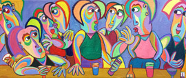 Painting Happy hour by Twan de Vos, enjoying each other with a good glass of wine