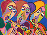 Painting Musica by Twan de Vos, three musicians make music together