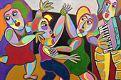 Painting Fiesta by Twan de Vos, party on the village square, music, dance and singing