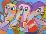 Painting Trio de conciertos by Twan de Vos concert by three horns