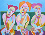Painting Warm friends by Twan de Vos, three friends on a bench