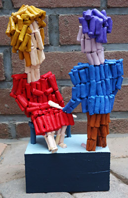 Sculpture Encounter by Twan de Vos, sculpture, ceramic and wood, conversation between husband and wife