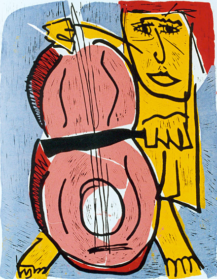 Linocut Solo Concert by Twan de Vos, alone on stage, all attention