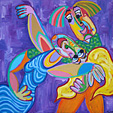 Painting Spanish dance of Twan de Vos, man and woman dancing enthusiastically to the Spanish tango, dance