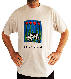 t-shirt silkscreen cows and tulips the Netherlands