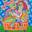 Painting Tubkiss of Twan de Vos, a kissing couple sitting outside in the nice hot tub to bath
