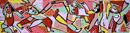 Linocut Saturday night 2 of Twan de Vos, going out at the weekend, disco, music, dance, printed according to the Picasso method.