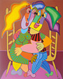 Painting acryl on canvas Musical chairs in love by Twan de Vos, couple very much in love try to get on each others chairs