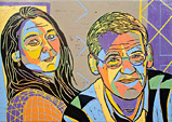 Double portrait in linocut director Vrebos and his partner from Brussels, Belgium