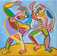 Painting Wild dance by Twan de Vos, acrylic on canvas, two dancers give it all