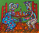 Screen print Summer evening by Twan de Vos, couple is having a drink on a terrace on a sultry summer evening.