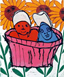 Linocut Found  under the sun by Twan de Vos, children in basket between sunflowers, printed by the method Picasso